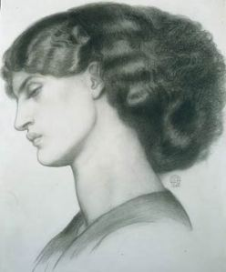 Dante Gabriel Rossetti, Black chalk on paper, dated 1865, 31.5 x 34.5cm, Private collection