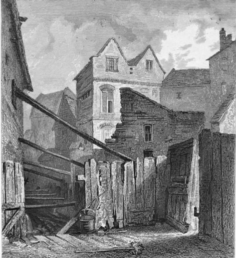 Near Field Lane c. 1844 Houses with the open part of the Fleet Ditch before rebuilding (Print: D. Bogue, Fleet Street)