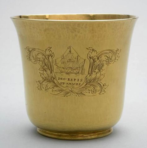 A gold beaker bearing the Levant Company's arms, presented to Katherine, Lady Trumbull, in April 1687