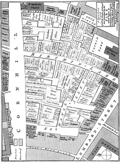 A map of Exchange Alley after it was razed to the ground in 1748, showing the sites of some of London's most famous coffeehouses including Garraway's and Jonathan's