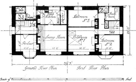 Plan of Cottage designed by Sir Edwin Lutyens and Mr. Alban Scott.