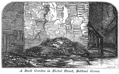 """A back garden in Nichol Street, Bethnal Green"" illustration for ""More Revelations of Bethnal Green"" in The Builder, vol. XXI, no. 1082 (31 October 1863)"