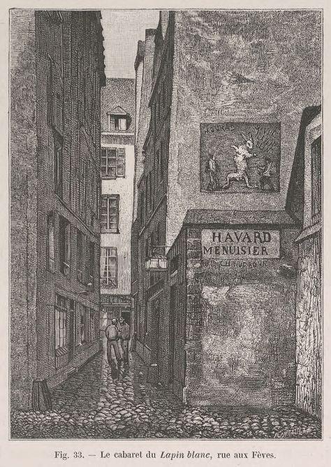Theodor Josef Hubert Hoffbauer - Le cabaret du Lapin Blanc, rue aux Fèves, 1875-1882